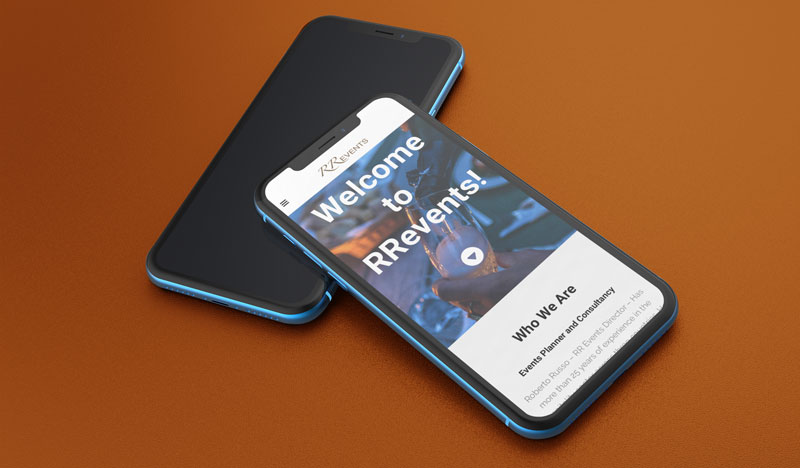 RR Events Website Rebranding Project On Mobile Device