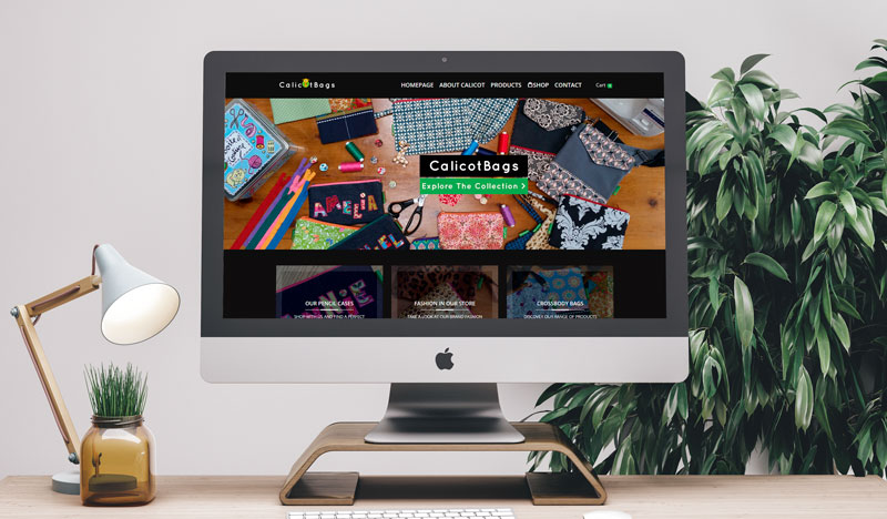 The Screenshot Of The Online Shop Project For CalicotBag On Screen