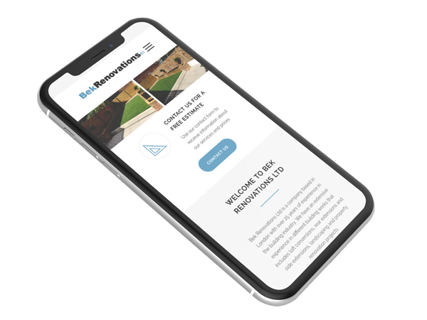 Screenshot of the builders website project on mobile