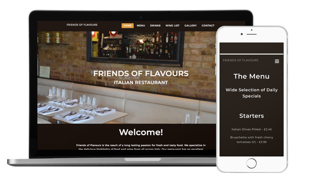 Screenshot of the website rebranding for restaurant Friends of Flavours
