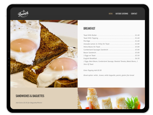 Coffee shop website project on tablet