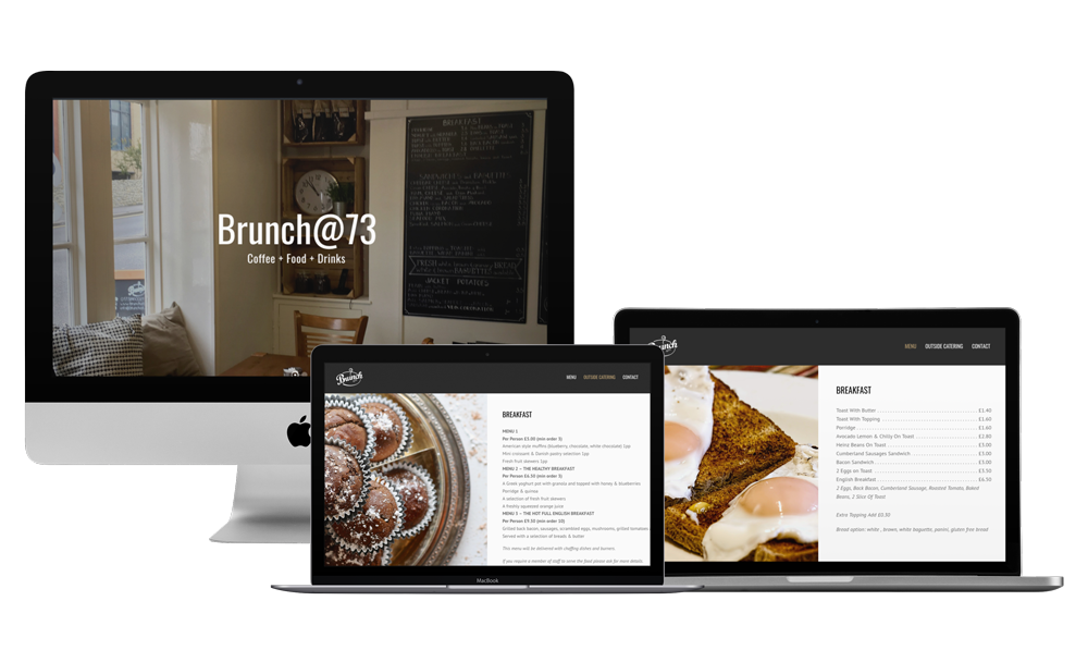 Screenshot of the offee shop website project for Brunch@73