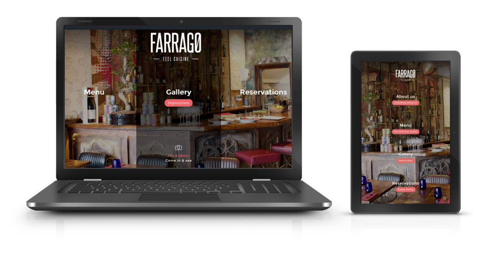 Startup website for the restaurant Farrago on different devices