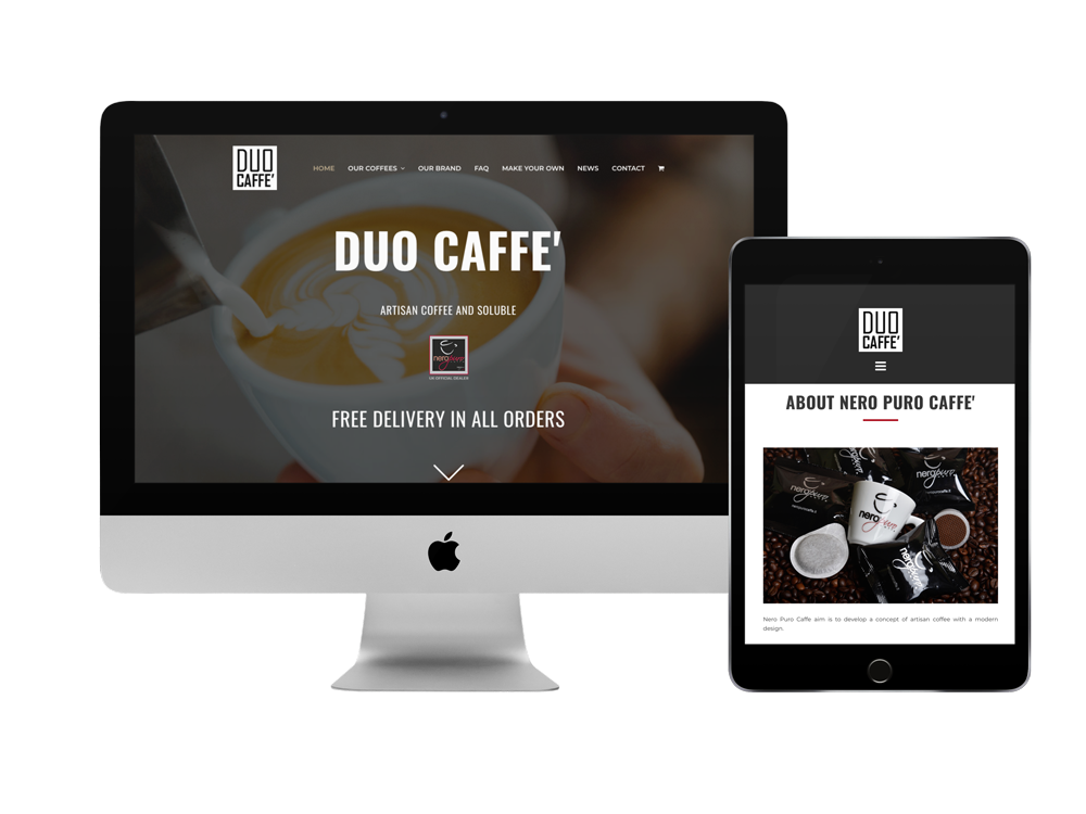 Screenshot of the Ecommerce Website for Duo Caffe