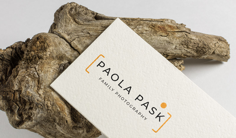 Paola Pask Photography website on business card