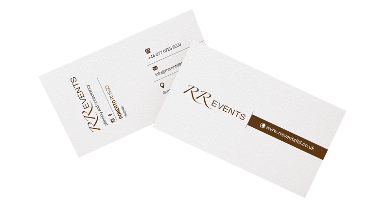 Business cards design for event planners RR Events