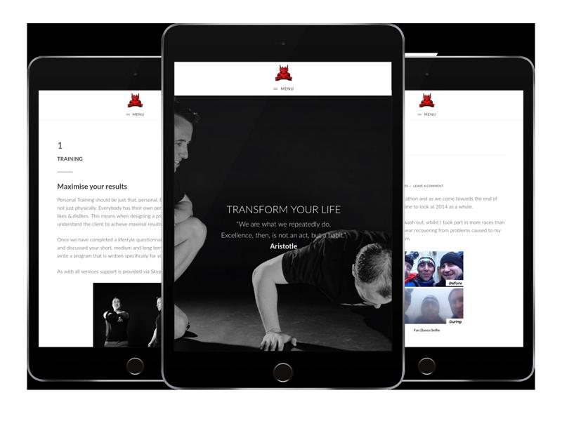 Website for fitness brand DragonFit on tablets