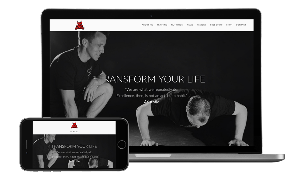 Screenshot of the fitness website for dragonFit