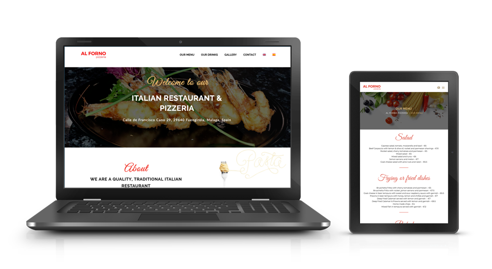 Multilingual website for Al Forno on laptop and tablet