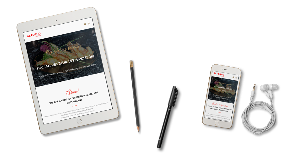 Multilingual website for Al Forno on tablet and mobile