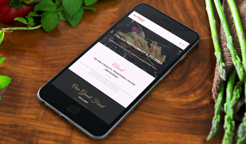 Screenshot Of The Multilingual Website For Al Forno Restaurant